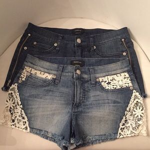 Bebe shorts denim lace zips 27 waist 27 nwot